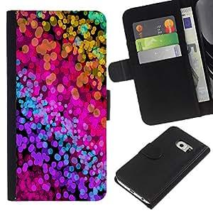KLONGSHOP // Tirón de la caja Cartera de cuero con ranuras para tarjetas - Color Splash neón Acuarelas - Samsung Galaxy S6 EDGE //