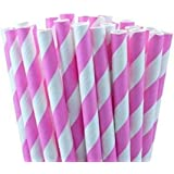 RuiChy 25pcs Colourful Striped Paper Drinking Straws for Wedding Birthday Party Decoration