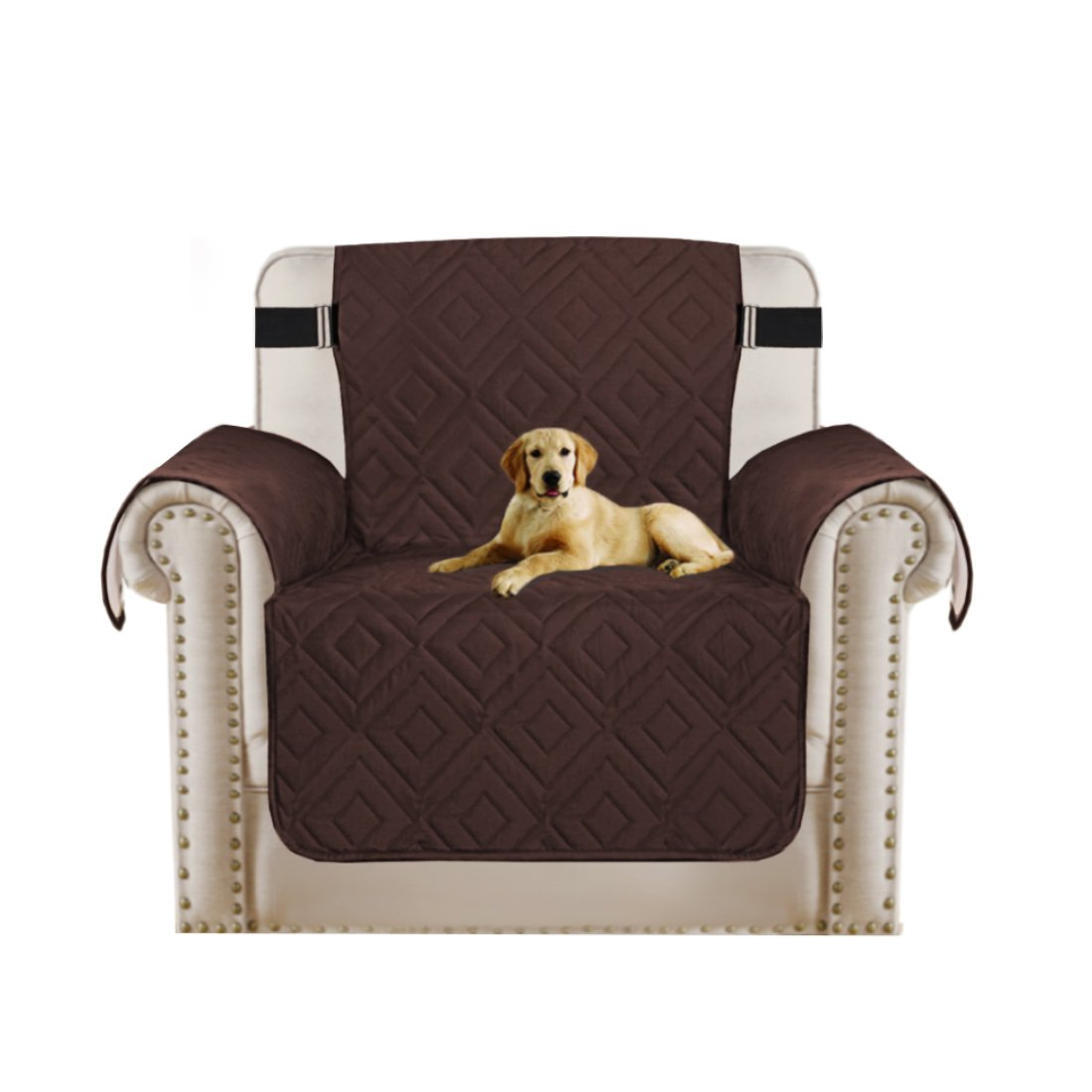 Turquoize Reversible Furniture Protector Water Repellant Elastic Strap to Keep Cover in Place Machine Washable Sofa Slipcover Perfect for Pets and Kids (Brown/Beige, Chair 75''x65'')