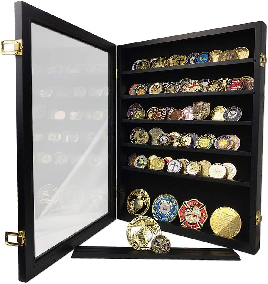 DecoWoodo Challenge Coin Display Case Holder Military Coin Stand Rack Glass Door Black Finish