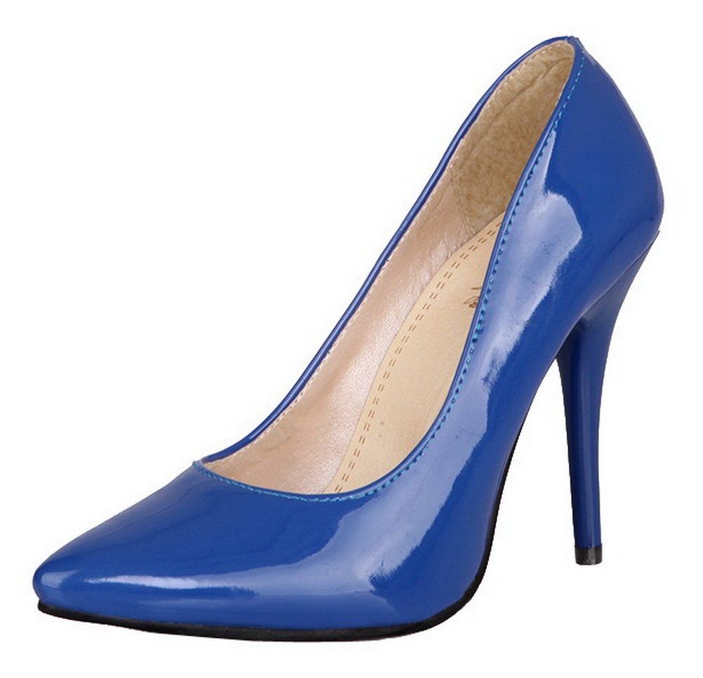 AmoonyFashion Women's Pointed-Toe High-Heels Patent Leather Solid Pumps-Shoes, Blue, 33