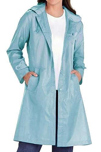 Las Mujeres Botón Arriba De Frente Abierto Ancho Dobladillo Trench Coat Capucha Impermeable Pocker