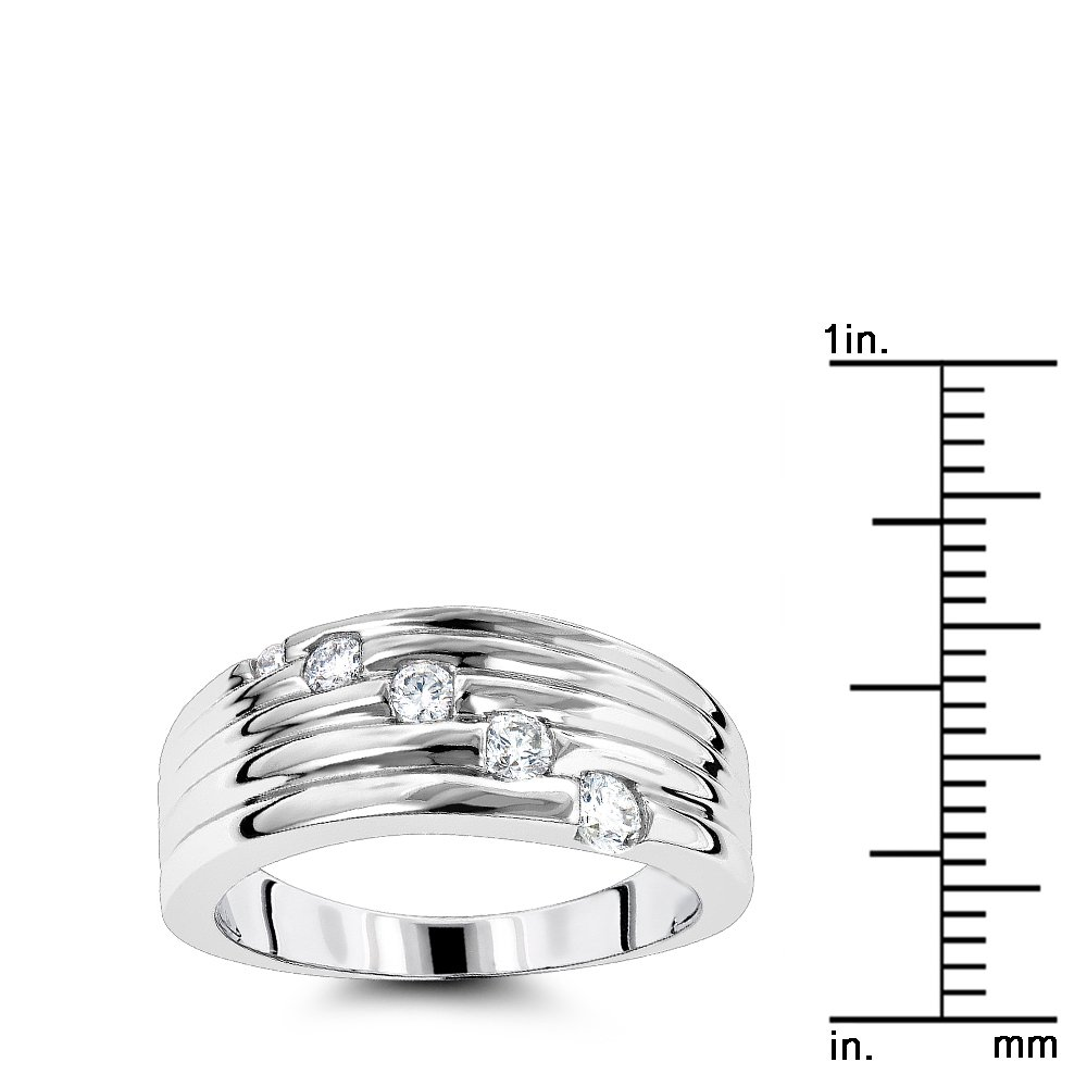 Luxurman Womens 14K Round Natural 0.3 Ctw Diamond Journey Ring For Her (White Gold Size 7.5) by Luxurman (Image #3)