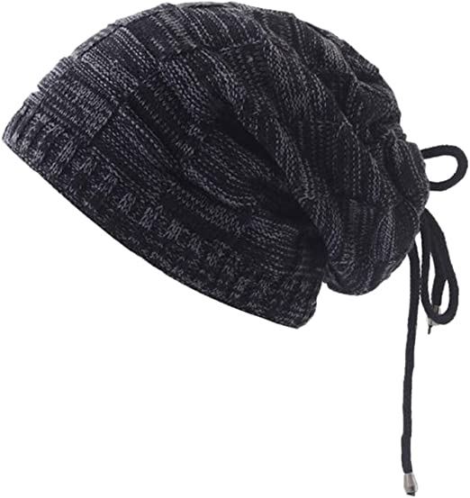 Funny Sun Hat for Men and Women Winter Warm Hats Knit Slouchy Thick Skull Cap Black