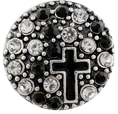 - Rockin Angels Silver Black Clear Rhinestone Cross Religious 20mm Snap Charm For Ginger Snaps