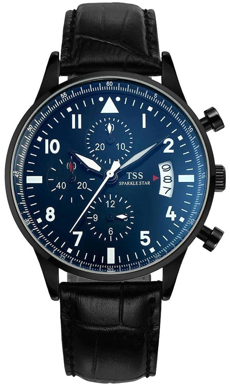 TSS Herren t5013pc5 Chronograph Quarz Armbanduhr mit Leder Band