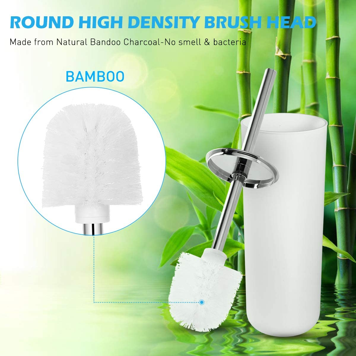 Toilet Brush with Holder in Attractive Modern Design Stainless Steel 15 Inch Handle. Soft, Dense, Long Bristles Clean Easily (White)