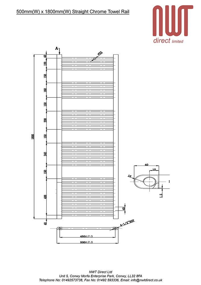 Radiator Straight Chrome Heated Towel Rail x 1800mm 500mm Warmer 2923 BTUs Bathroom Central Heating Ladder Rail h w