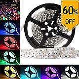 LEDMO SMD 5050 RGB 5M Waterproof IP65 Flexible LED Strip, 16.4Ft 300LEDs DC12V, Multi-Color Changing RGB LED Tape Light/ LED Ribbon Light Strip, RGB