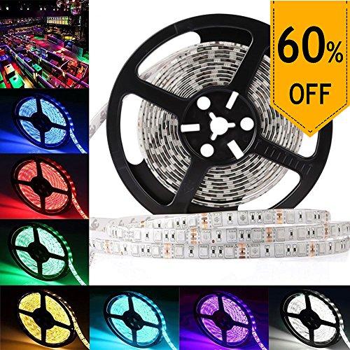 LEDMO SMD 5050 RGB 5M Waterproof IP65 Flexible LED Strip, 16.4Ft 300LEDs DC12V, Multi-Color Changing RGB LED Tape Light/ LED Ribbon Light Strip, RGB by LEDMO