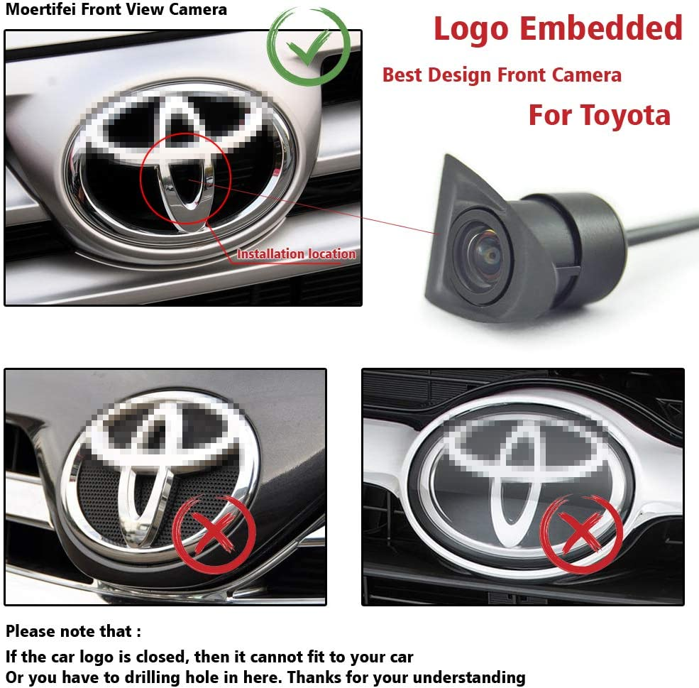 Wide Degree Car Front View Camera Logo Embedded With CCD Waterproof For Toyota