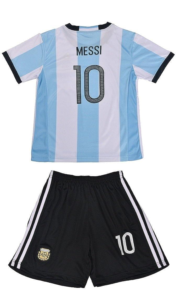 FWC 2014 Argentina Home Messi 10 Futbol Football Soccer Kids Jersey & Short AFA