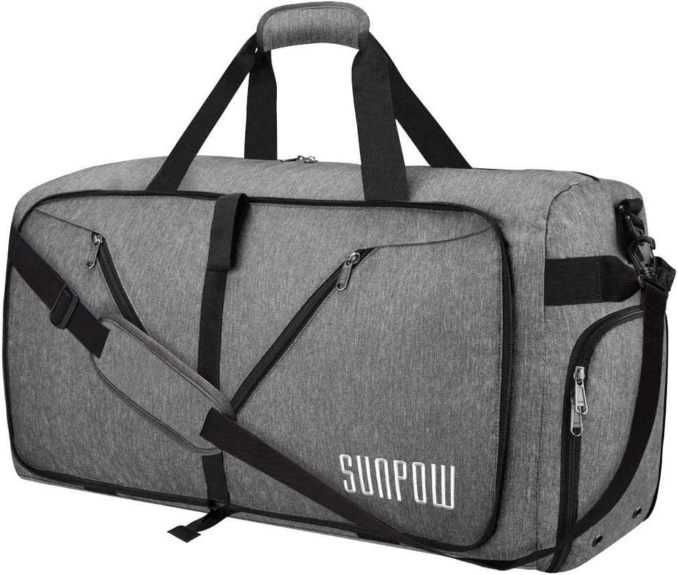 SUNPOW 65L Travel Duffel Bag, Weekender Bag With Shoes Compartment Tear Resistant Foldable Duffle Bag For Men Women Light Grey
