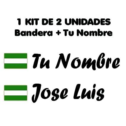 Pegatina Vinilo Bandera Andalucia + tu Nombre - Bici, Casco ...
