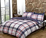 Red White Blue Checked King Size Quilt Duvet Cover & Pillowcases Bedset Bedding by Homespace Direct