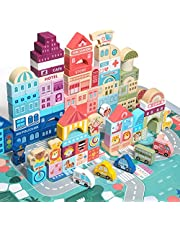 Wooden City Building Blocks Set,110 Pcs City Construction and Shape Stacking Preschool Education Learning Toys,3+ Year Old Boy and Girl (City Building Toy Set)