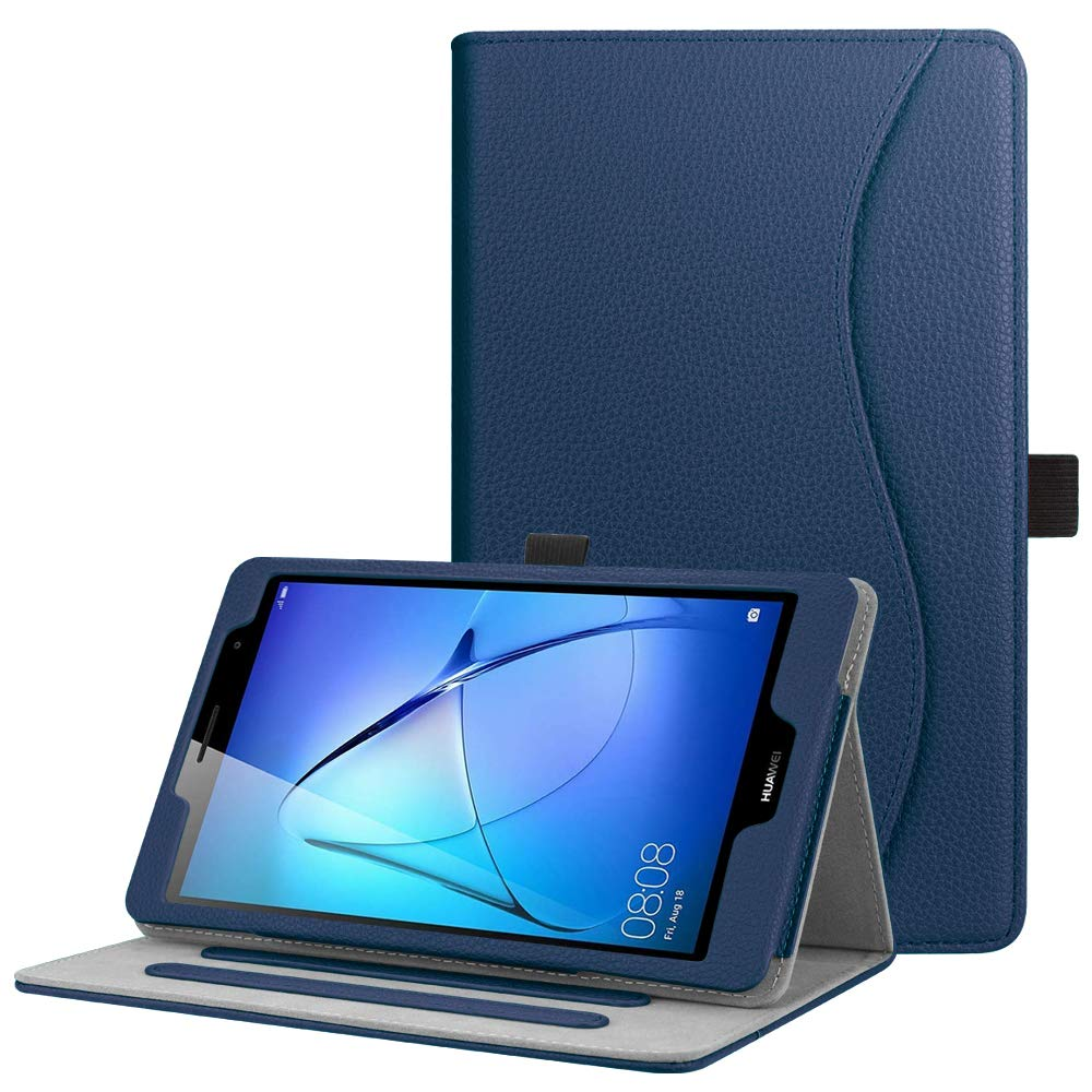 FINTIE Huawei Mediapad T3 8ケース、[マルチアングル表示]フォリオスタンド保護カバーHuawei Mediapad T3 8インチタブレット用カードポケット、ネイビー   B07JLRMRJV