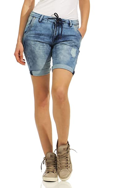 ca4f63f0d5c0f6 Urban Surface Damen Jogging Shorts Jeans-Optik LUS-119 Bermuda Used Look:  Amazon.de: Bekleidung