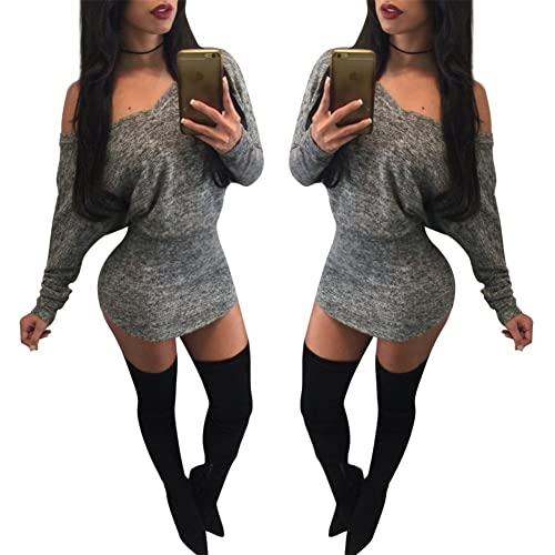 Hot Sale Women's Sexy Off Shoulder Long Sleeve Bodycon Party Club Mini Dress