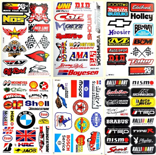 Cars Nos Hoosier Holley BMW Mopar Texaco Drag Racing Lot 6 vinyl decals stickers (Stickers And Decals)