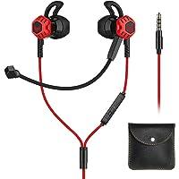 Langsdom G100X Audífonos Gaming In-Ear Auriculares Gamers Manos Libres con Control de Volumen y Doble Micrófono HD Compatibles con Nintendo Switch, Playstation 4, Xbox One, Celulares, Tablets, Laptops, etc (Rojo)