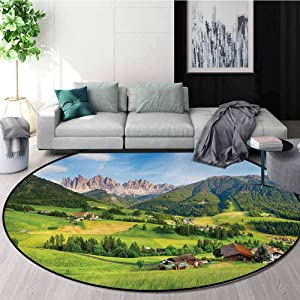 DESPKON-HOME Nature Modern Vintage Rugs,Alps in The Spring Season with Fresh Grass Sky Majestic Mountains Image Art Decor Area Rug - Perfect for Any Place Diameter-51 Inch,Green Blue