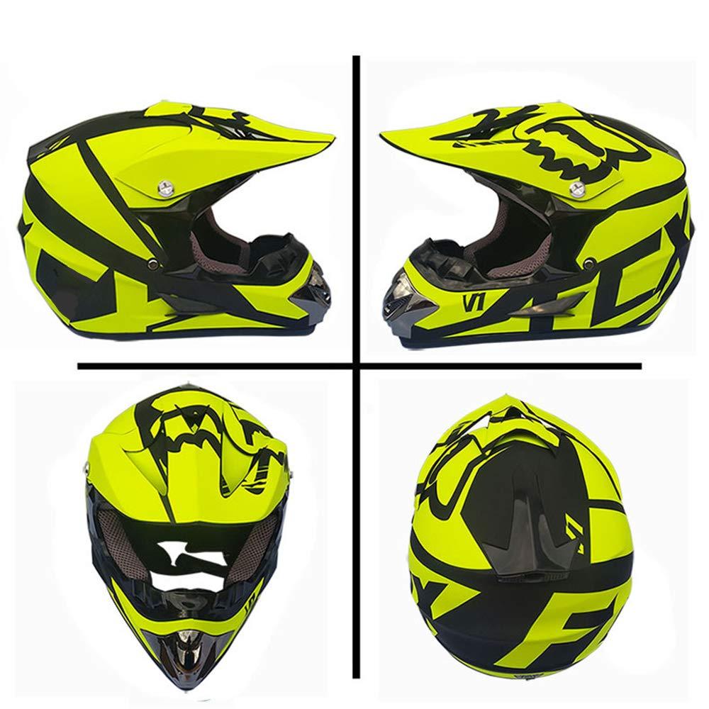 MRDEAR Adulte Casque Moto Cross Noir Mat et Jaune Casque Motocross//Goggle//Gants//Masque Certification Dot Casque VTT Integral BMX Quad Enduro ATV Scooter pour Enfant Femme Homme