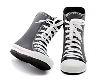 Rubber Lace-up Boots ~ Elvetik Swiss Design Sizes 5-9 Solid Black Swan #CB0016