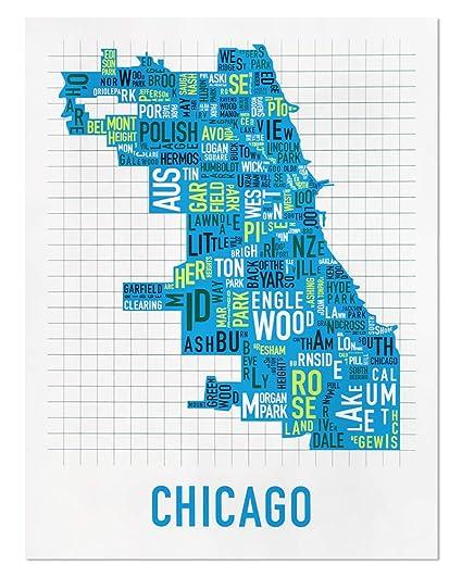 Amazon.com: Ork Posters Chicago Neighborhoods Map Art Screen Print ...