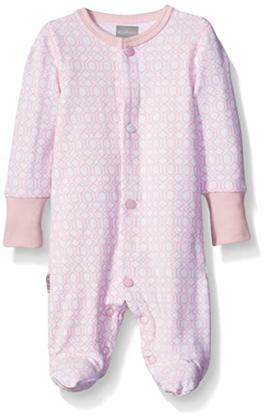 Kushies Baby Girls Blue Banana Floral Bow Footie Footed Sleeper Pajamas, Light Pink,