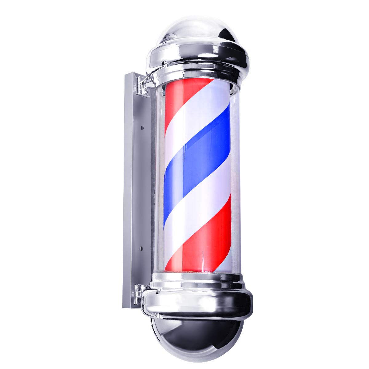 Giantex 30'' Barber Pole LED Light, Hair Salon Barber Shop Open Sign, Rotating Red White Blue Spinning Strips, Dual Switches for Power Saving, Large Outdoor Decor Pole Signs by Giantex