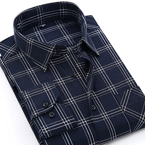 CATERTO Mens Long Sleeve Plaid Flannel Casual Shirts Checked Button Down Shirts (L, Navy) ()