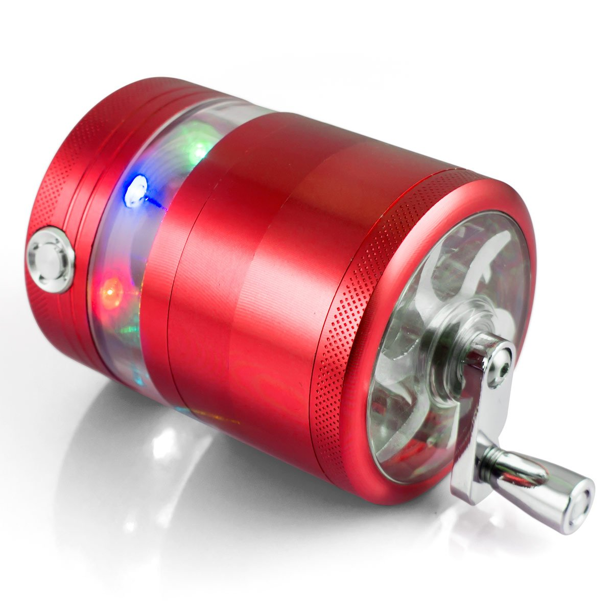 Formax420 Handle Grinder For Tobacco Spice Mill Crusher With LED 5 Parts 2.5 inch (Red) Formax-0152