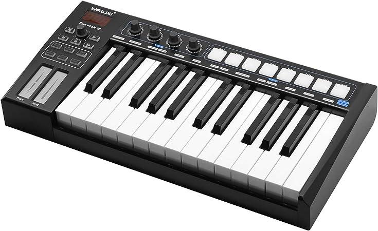 Muslady WORLDE Blue whale 25 Teclado Controlador USB MIDI ...