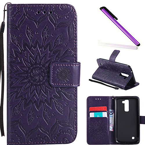 HMTECH LG K10 2016 Case LG Premier LTE Case Sunflower Embossed Floral  Wallet Case Card Slots Kickstand Premium PU Leather Flip Stand Full-Body