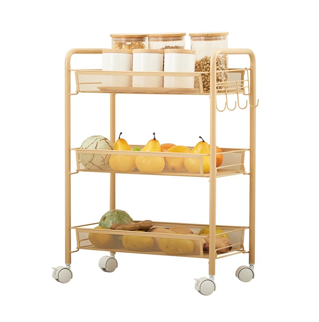 3-Tier Kitchen Trolley | Metal Wire Mesh Serving Rolling Cart Utility Organization Shelf | Movable Storage Rack Shelving Unit in Bathroom Kitchen | Heavy Duty Metal Steel,Gold