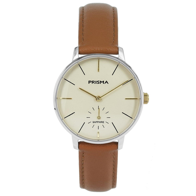 Prisma Damen Armbanduhr Retro Corum - Edelstahl silber mit Analog Quarzwerk - 5 ATM und Saphirglas P.1440