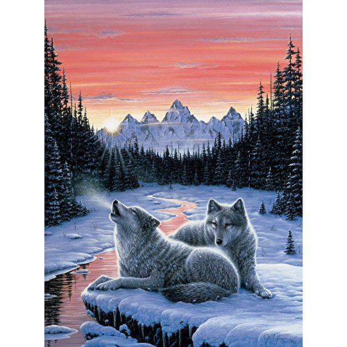 Bits and Pieces - 300 Large Piece Glow in The Dark Puzzle for Adults - Winters Dawn, Snowy Winter, Wolf - by Artist Jeff Tift - 300 pc Jigsaw