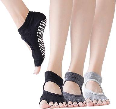 Women/'s Yoga Socks Barre Socks Pilates Socks Half Toe Non Slip Skid With Grips
