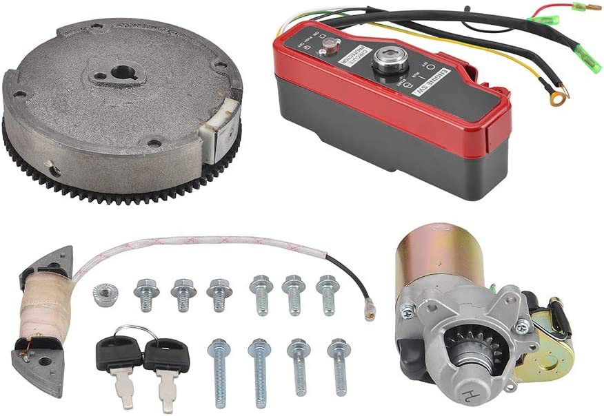 MOFANS Starter Motor Flywheel Ignition Switch Box Electric Start Kit Fit for Compatible with Honda GX160 5.5HP GX200 6.5HP