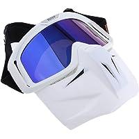 HOMYL White Motorbike Full Face Mask Cross-Country Plating Goggles Anti UV PVC Sunglasses