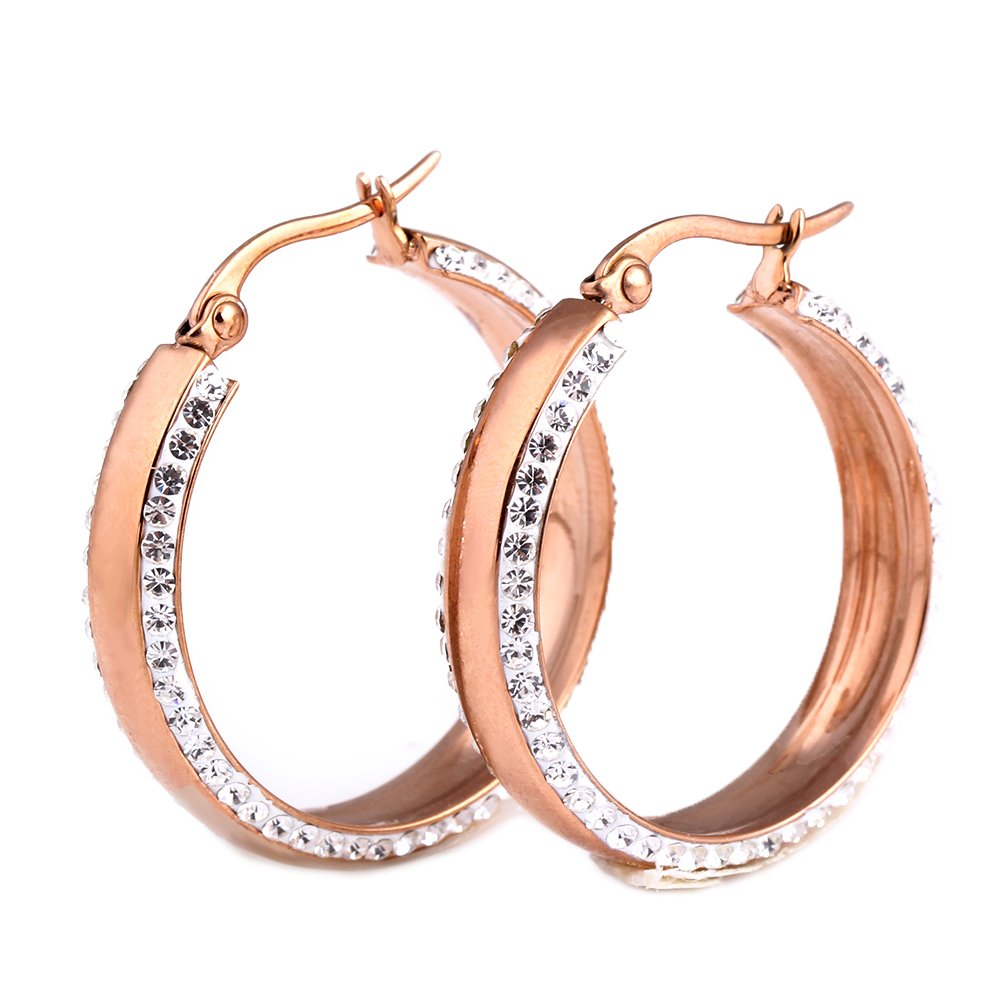 18K Gold Rose Gold Silver Color Stainless Titanium Steel Women Crystal Hoop Earrings for Wedding (Rose Gold)