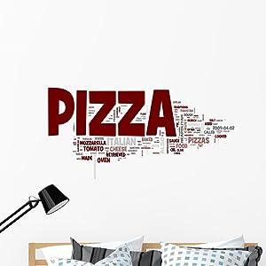 Wallmonkeys Italian Pizza Word Cloud Wall Decal Peel and Stick Graphic WM272893 (48 in W x 47 in H)