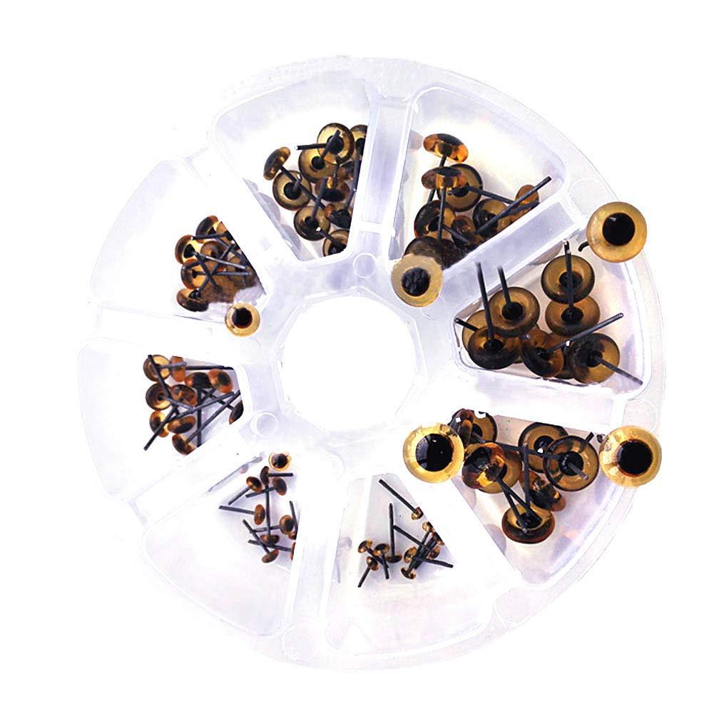 3-10cm 8Size Transparent Mini Glass Eyes Kits for Needle Felting Bears Dolls Decoys Sewing Crafts 80pcs BESTCYC 1Box