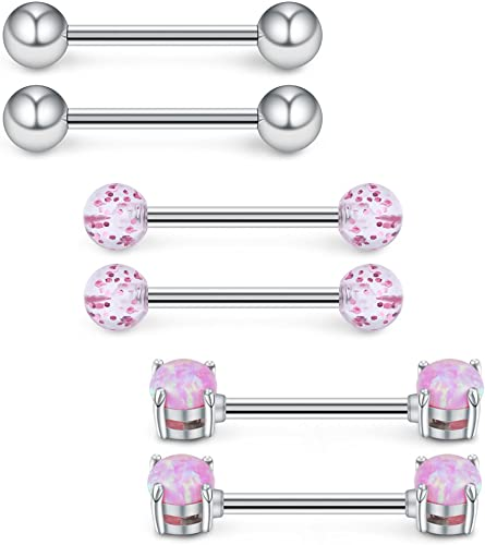 10 x Stainless steel Ball Tongue Navel Nipple Barbell Ring Bars Body Piercing Z0