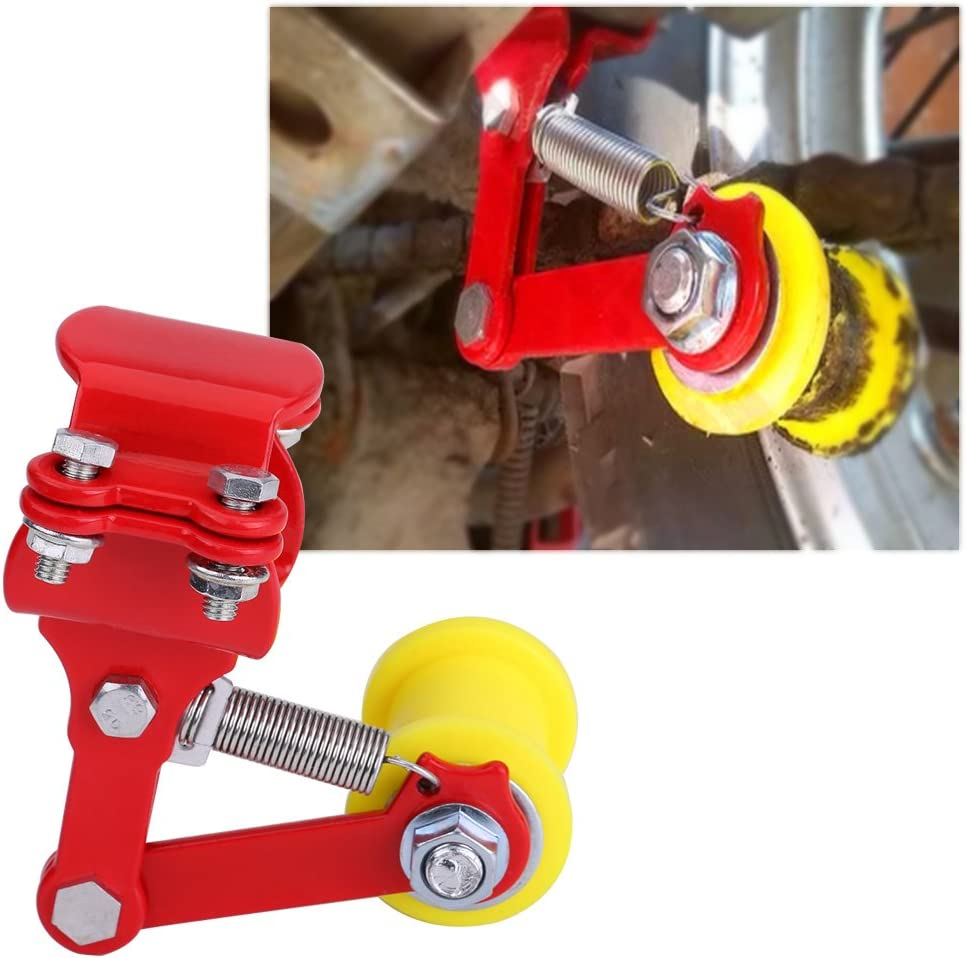 Qiilu Adjuster Chain Tensioner Bolt On Roller Motorcycle Modified Accessories Universal Tool Red