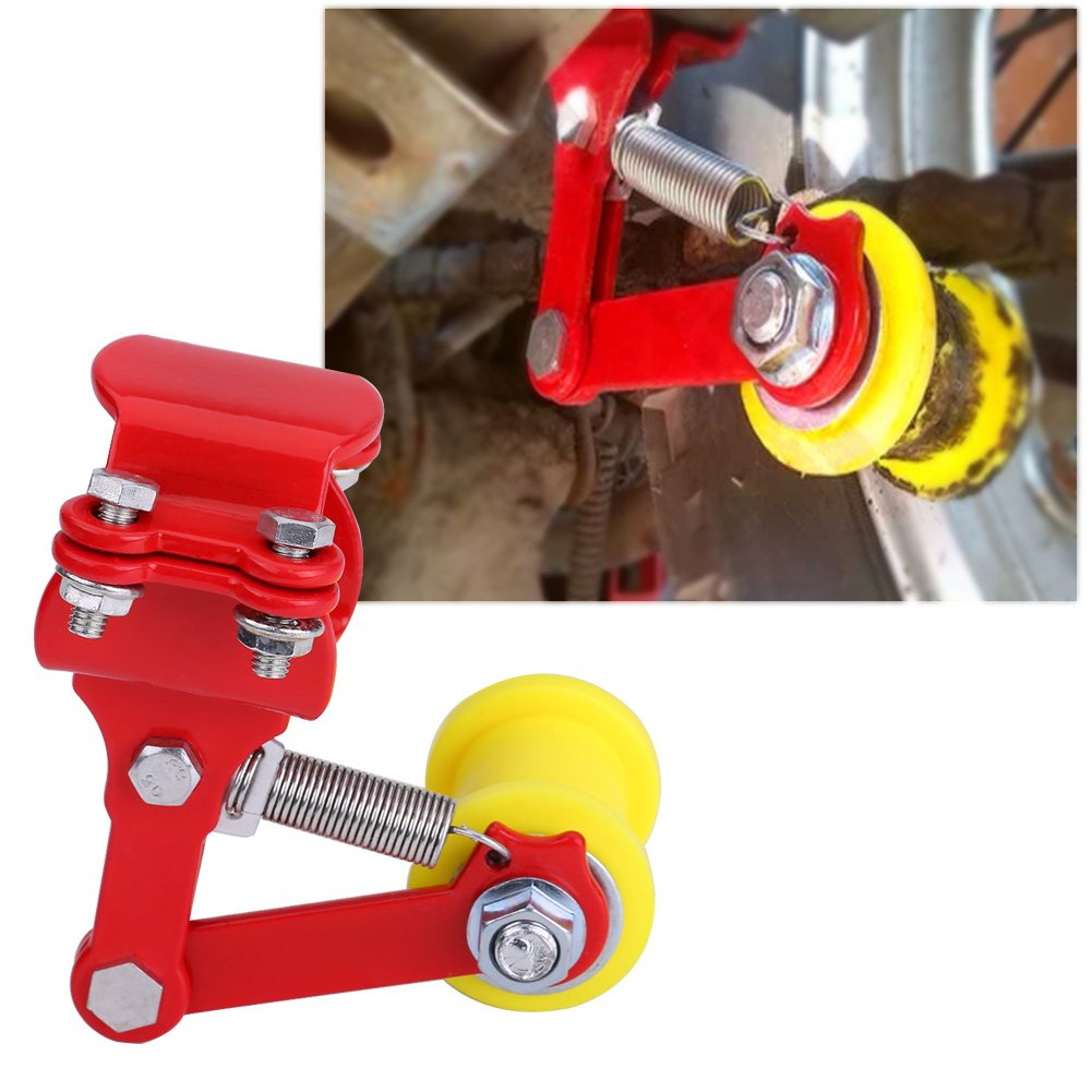 Red Motorcycle Adjuster Chain Tensioner Roller Universal Link Length Modified Guide Dirt Pit Bike Chopper with Backup Long Bolts