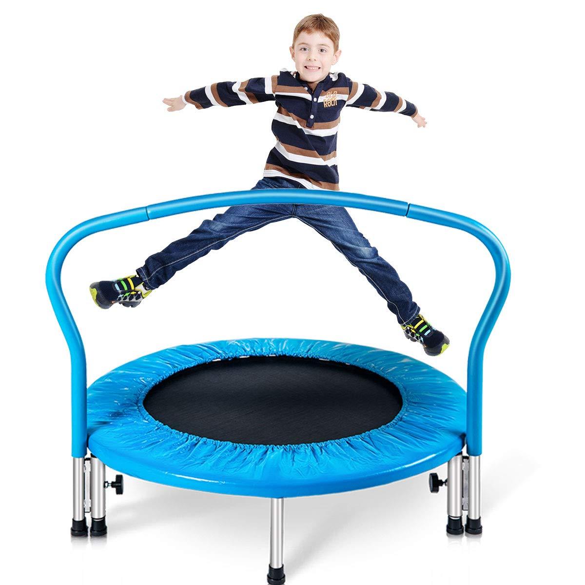 Merax 36'' Kid's Mini Exercise Trampoline Portable Trampoline Toddler Trampoline with Handrail (Blue Pad)