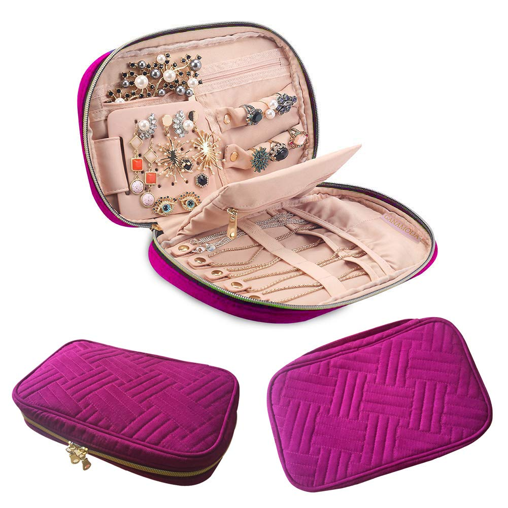 Venus Travel Jewelry Organizer Case, Jewelry Storage Bag for Necklaces, Portable Travel Jewelry Storage Cases for Earrings, Soft Padded Traveling Jewelry Bag Case, Bracelets, Rings, Brooches, Purple
