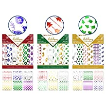 """3 Holiday Paper Pads: each 6""""x6"""" Foil Prints x18 Sheets - 54 sheets total"""